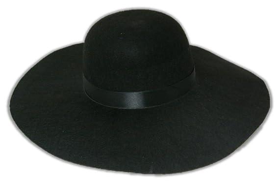 d096f65848e Amazon.com  Large Oversized Round Felt Black Hat for Undertaker  Costume-Small Medium  Clothing