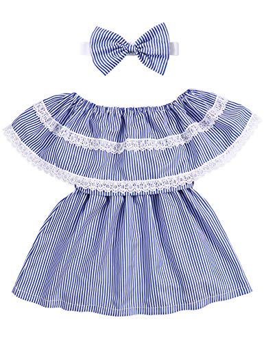 Girls Clothes Toddler Kids Summer Off Shoulder Striped Ruffled Lace Stitching Skirt Dress Outfits+Headband 1-2 T