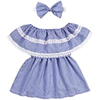 Toddler Baby Girls Clothes Summer Shirts Off Shoulder Tops Bow Skirt Stripe Outfit Set