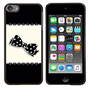 LECELL--Funda protectora / Cubierta / Piel For Apple iPod Touch 6 6th Touch6 -- Arco Patrón Negro lunar blanco --