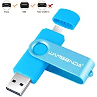 OTG 64GB USB Flash Drive Wansenda 2 in 1 USB Memory Stick Micro Port & USB 2.0 Pen Drive for Android Devices/PC/Tablet/Mac (Blue)