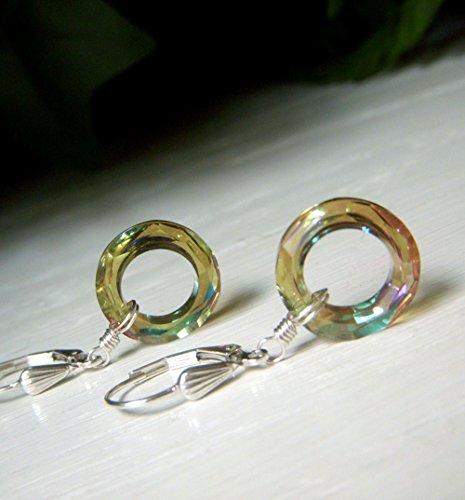 Swarovski Donut Earrings, Verde Crystal, Sterling Silver Leverback, Iridescent Cosmic Circle ()