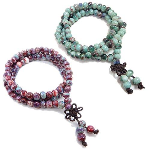ALoveSoul 108 Buddhist Prayer Mala Porcelain Glossy Beads Handmade Religious Bracelet (2 Pcs)