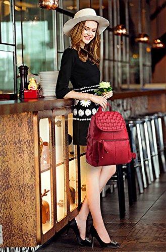 Nicole&Doris Nueva muchacha del hombro del patrón del bolso de escuela mochila bolsa de viaje Armadura Mochila Negro Rojo