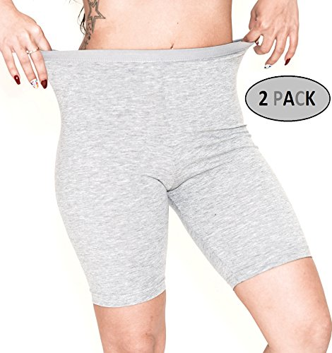 Women's 2 Pack Cotton Active Dance Running Yoga Boyshorts Boxer Brief Black and Grey (Bike Boxer Shorts)