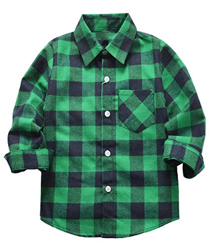 Rainlover Little Boys' Long Sleeve Button Down Plaid Flannel Shirt (7T, -