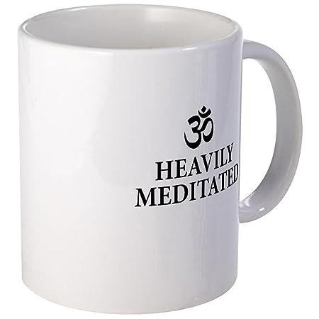 CafePress - Heavily Meditated - Funny Yoga Mugs - Coffee Mug ...