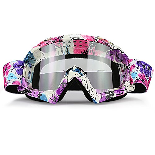 (JAMIEWIN Clear Lens Dirt Bike Motorcycle Goggles ATV Racing Motocross Mx Goggle Glasses UV Protection for Men Women Youth Kids (Clear Lens))