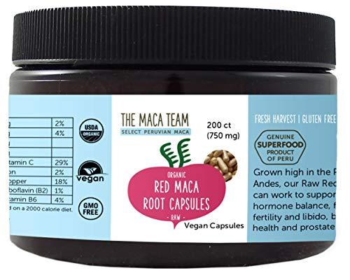 The Maca Team Red Raw Maca Powder Capsules - Fair Trade, Certified Organic, GMO- and Gluten-Free & Vegan, 750 mg, 200 Ct