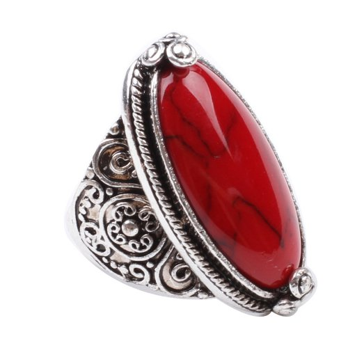 Turquoise Ruby - Fashion Ring,18K White Gold Plated Cubic Zirconia Ring with Red Synthetic-Turquoise Stone Size 9