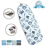 Duwee 18 x 50in Heat Resistance Metallic Ironing Board Cover Durable Felt Material Standard Size Multi-Color Choices,With Elastic Cord, Easily Handle and Fits Board Beautifully (Iron Pattern)