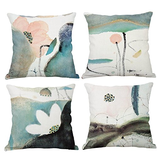 Lotus Cushion Cover - YeeJu Set Of 4 Lotus Plant Decorative Throw Pillow Covers Cotton Linen Square Cushion Covers Outdoor Couch Sofa Home Pillow Covers 20x20 Inch