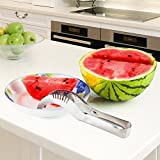 Stainless Steel Watermelon Fruit Slicer, Corer & Server – Create Fruit Baskets, Fruit Salad & Edible Arrangements – Home Kitchen Tool Makes Delicious, Kid Friendly Summer Fruit Snacks BY REVILO GOODS
