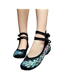 Womens Peacock Embroidery Spangly Beading Girls Platform Prom Dress Shoes