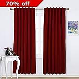 NICETOWN Room Darkening Draperies / Curtains - Christmas Curtain Xmas Home Decor Back Tab / Rod Pocket Panels in Burgundy Red, 52 Width X 84 Drop