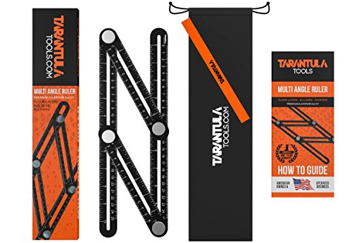 Drafter Kit (Tarantula Tools Multi Angle Template Tool - Black Aluminum Adjustable Ruler Angleizer - Ultimate Measuring Tool - All Metal No Plastic - Easy To Set For The Right Measurement - Makes Perfect angles)