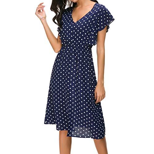 Women's Dresses Dot Printed Ruffle V Neck Front Split Hem Pleated Flowy Lightweight Dress for Ladies (S, Blue)