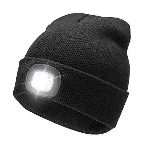 YJWB 4 LED Lighted Beanie Cap Winter Warm Hunting Hat Night Outdoor Fishing Hiking Camping,LED Cap,USB Rechargeable LED Beanie Cap