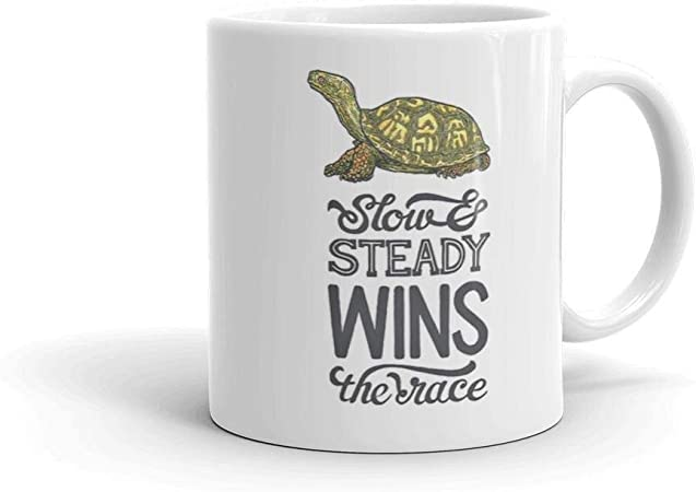 Slow And Steady Wins The Race Turtle Mug 11 Ounce Green B 301 400ml Amazon Co Uk Kitchen Home