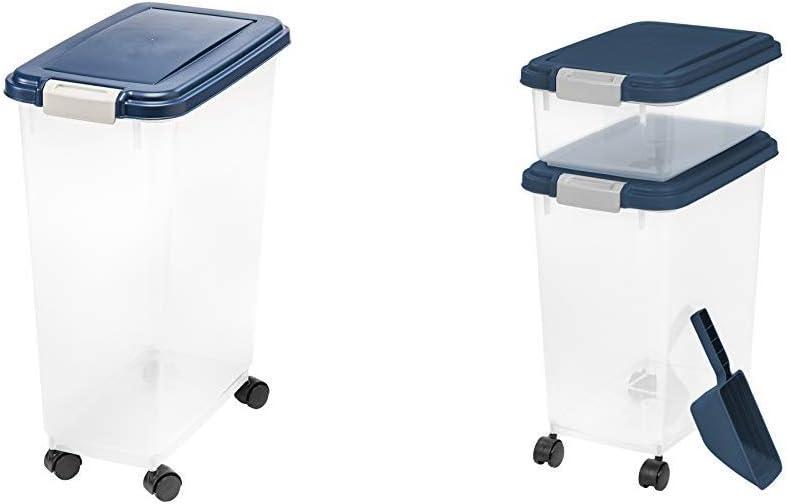 IRIS USA, Inc. IRIS Airtight Food Storage Container, 32-Pounds, No Scoop 3 Piece Airtight Pet Food Storage Container Combo, Navy Blue