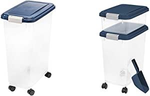IRIS USA, Inc. IRIS Airtight Food Storage Container, 32-Pounds, No Scoop 3 Piece Airtight Pet Food Storage Container Combo, Navy Blue