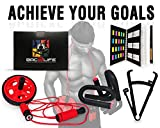 Push Up Bars - Ab Wheel - Adjustable Jump Rope - Fitness Journal - Total Core Workout For Men And Women - Exercise At Home Build Muscle