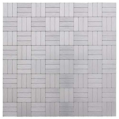 MTO0228   Peel and Stick Modern Assorted Rectangles Grey Metal Mosaic Tile (Metal Mosaic Tile)