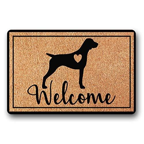 - BrowneOLp Entrance Floor Mat Funny Doormat German Shorthaired Pointer with Heart Welcome Door mat Decorative Indoor Outdoor Doormat Non-Woven Fabric Top 23.6