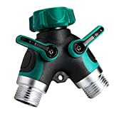 Sttech1 Garden 2 Way Y-type Connector Hose Splitter Comfortable Easy Grip Rubberized Easy for Installation 2 Pcs (Green)