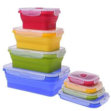XGTsg 4Pcs Folding Bowl Microondas Cocina Plegable Caja De ...
