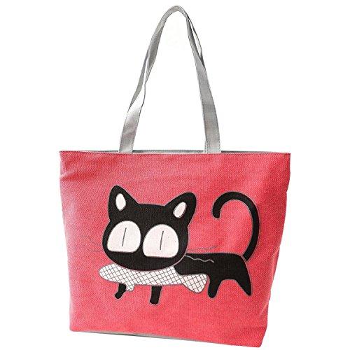 Enn Bolsos Bolsa compras Gato pescado para de playa de froma comer de para mujer Bolsos Chica Rojo SODIAL de hombro de mano XAaCwX