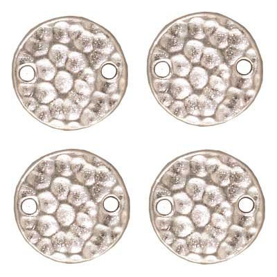 TierraCast Link Hammered Disc Decorative Item, 11mm, Bright Rhodium Plated Pewter, 6-Pack