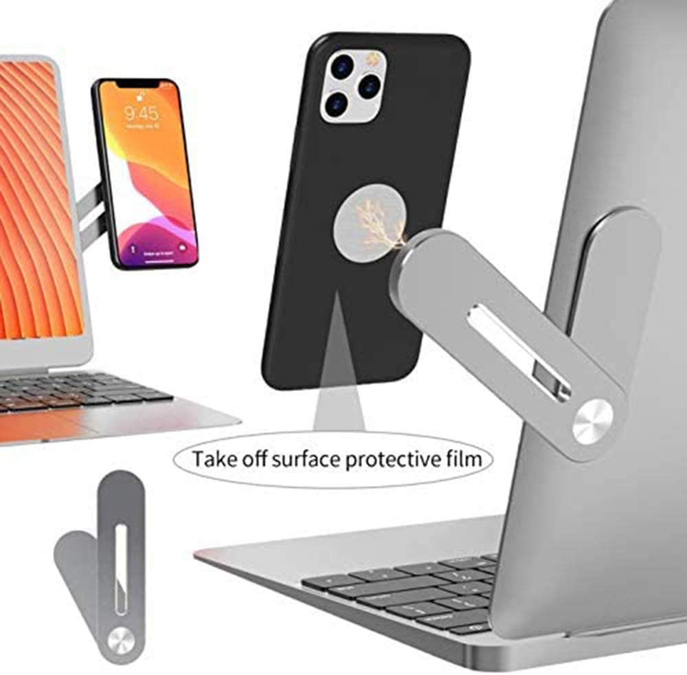 Side Mount Clip on Monitor Magnetic Laptop Stand with Phone Holder Computer Expansion Bracket for iPhone Smartphone Cellphone Fixed Flat and Slim Safty