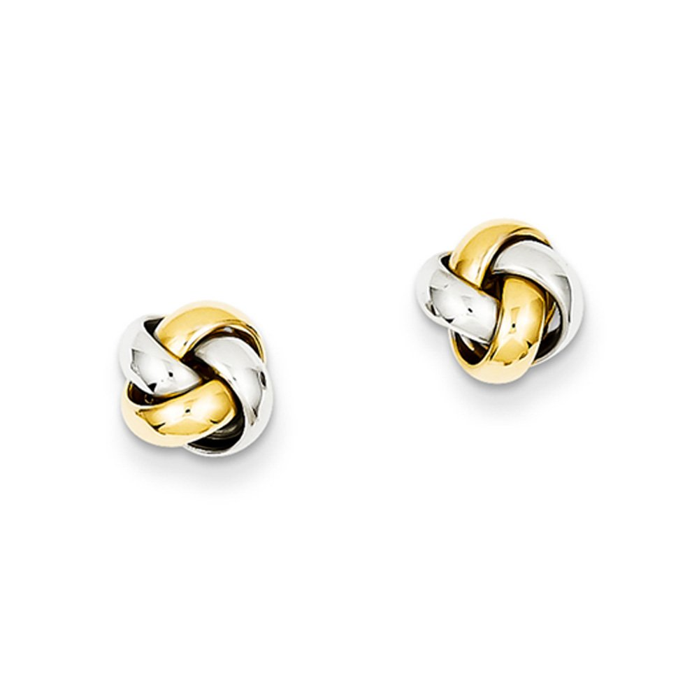8mm Polished Love Knot Earrings in 14k Two Tone Gold