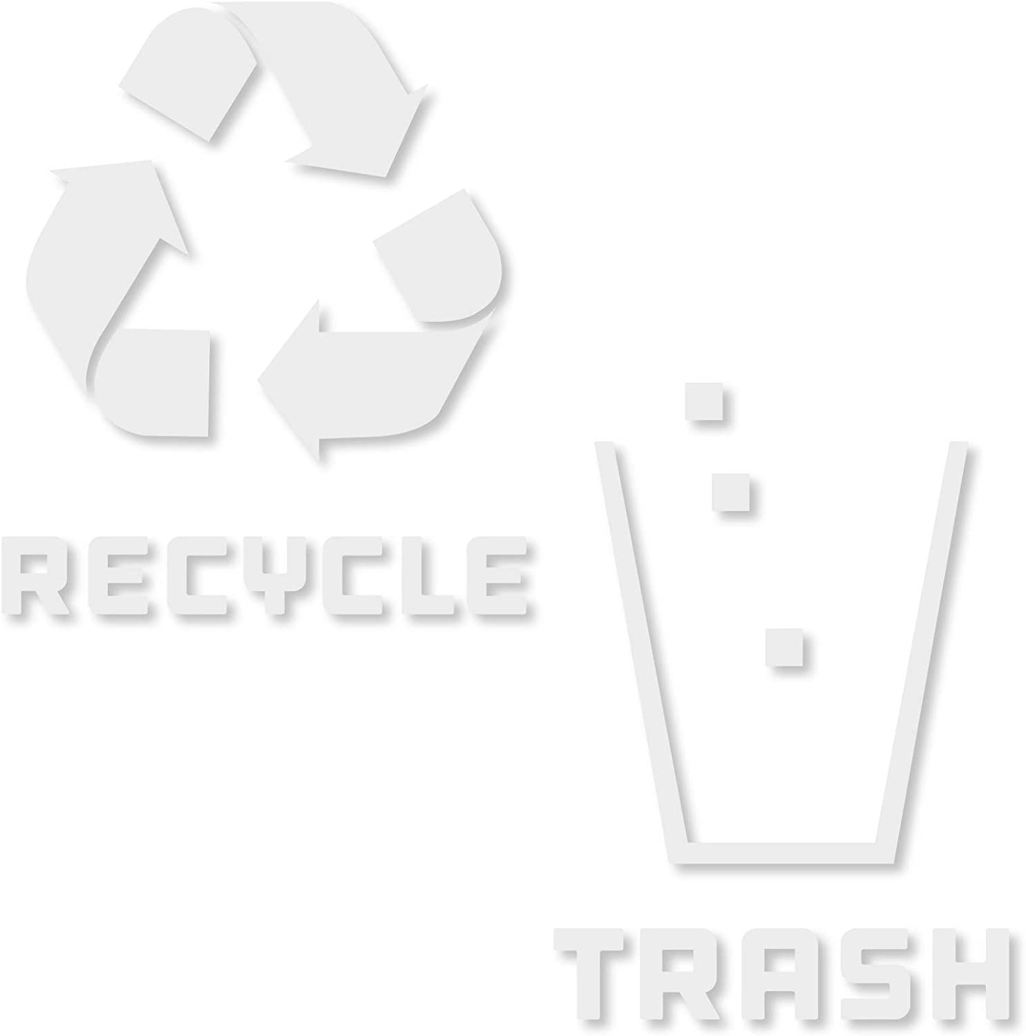 Recycle and Trash Stickers Modern Logo (1 ea) Symbol to Organize Trash cans or Garbage containers and Walls - Vinyl Decal Sticker (XSmall - 2.75x2.75, Reversed - White)