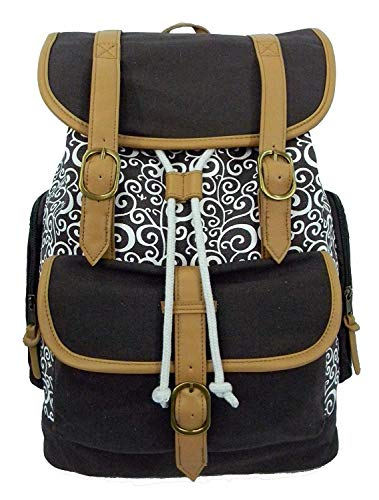 K-Cliffs Vintage Swirl Canvas Backpack   Fits 15-inch Laptop   18