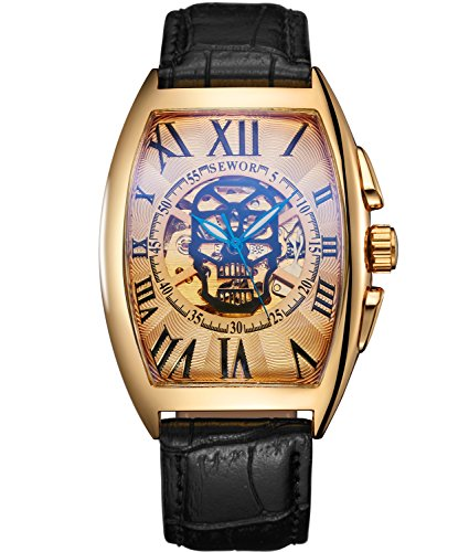 SEWOR Mens Automatic Business Dress Tonneau Skull Skeleton Wrist Watch Mechanical Self Wind (Gold) (Tonneau Automatic Watch)