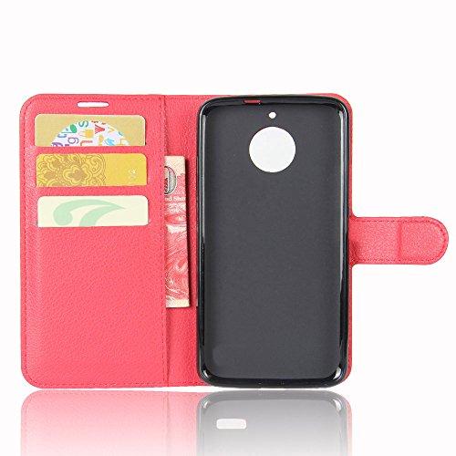 Lusee® PU Caso de cuero sintético Funda para Motorola Moto E4 Plus XT1773 5.0 Pulgada Cubierta con funda de silicona violeta rojo