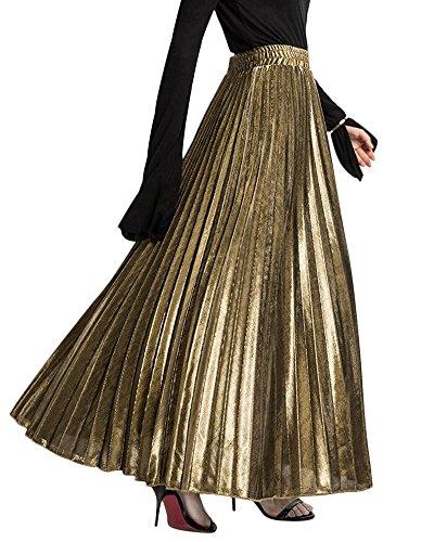 Jihe Women's Casual Long Ankle Length Maxi Skirt High Waist Shirring Accordion Pleated Gold L ()