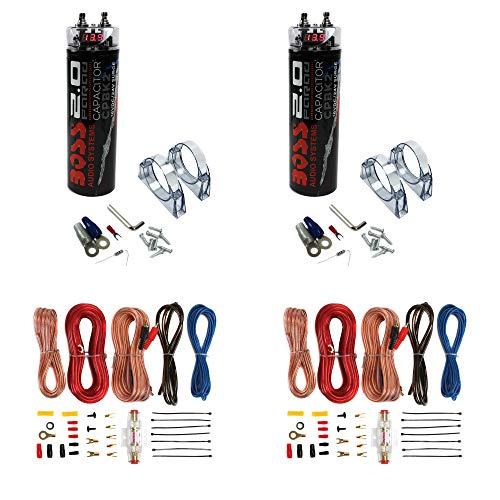 Soundstorm 8 Gauge Car Amplifier Amp Complete Kit Wiring Installation with RCA (2 Pack) Boss CPBK2 2 Farad 20-Volt Digital Voltage Car Audio Power Capacitor, LED Black (2 Pack)