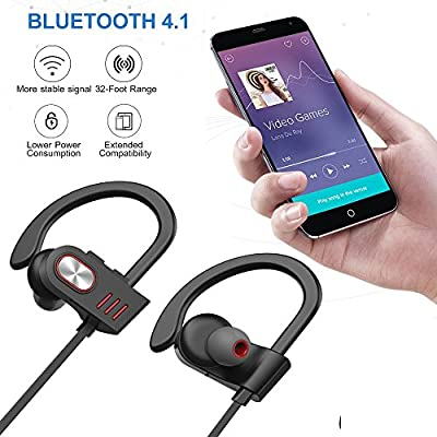 Hhusali Bluetooth Headphones Wireless In Ear Earbuds V4.1 Sports Sweatproof Earphones , Premium Sound with Bass Noise Reducing, Secure Fit Bluetooth Headset for Running, Workout and Gym (Red)