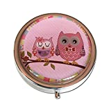 Pretty Owls Silver Three Compartment Round Pocket/Purse/Travel Pill Box (Pink)