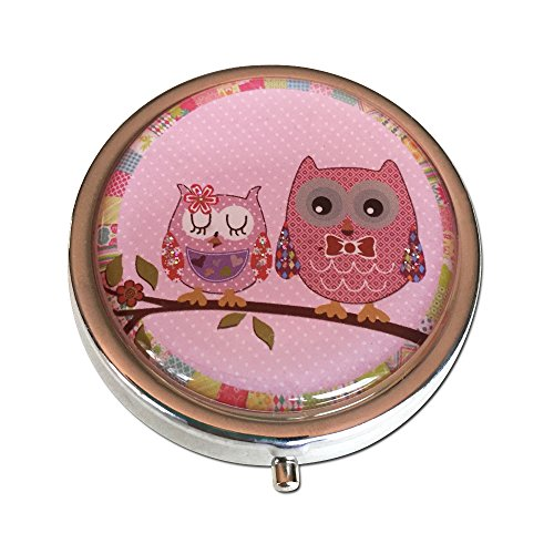 Pretty Owls Silver Three Compartment Round Pocket/Purse/Travel Pill Box (Pink) by Lunamax