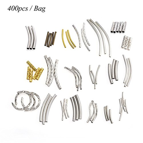 ZX Jewelry (400pcs) Mix Curved Metal Tube Beads Smooth Spacer (Bright Metal Findings)