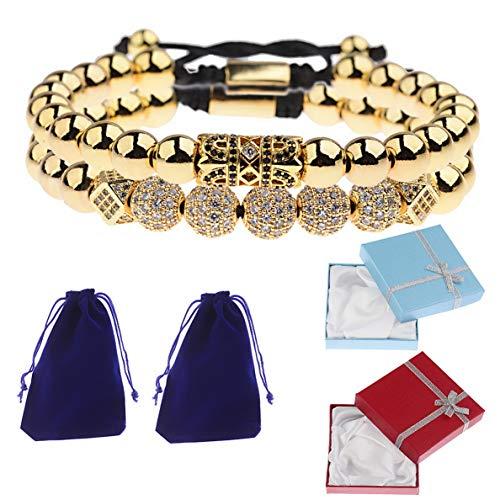 (Werrox 10 Pieces Balls 4MM Copper Beads Charm Crown CZ Braided Macrame Men Bracelets | Model BRCLT - 3586 | 2pcs 1+Gift Box)