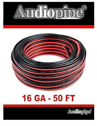 Audiopipe 50' Feet 16 GA Gauge Red Black 2 Conductor Speaker Wire Audio Cable - 2 Conductor Audio