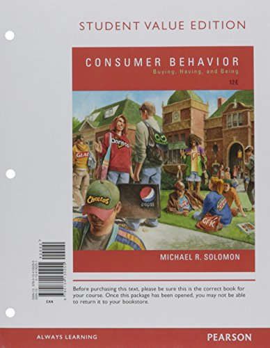 Consumer Behavior: Buying, Having, and Being, Student Value Edition Plus MyLab Marketing with Pearson eText -- Access Card Package (12th Edition)