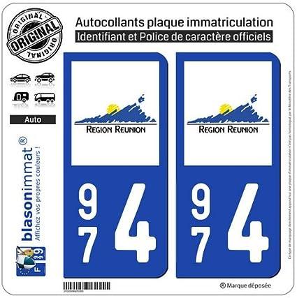 2 pegatinas, diseño de placa de matrícula del departamento francés 974 (Réunion): Amazon.es: Coche y moto
