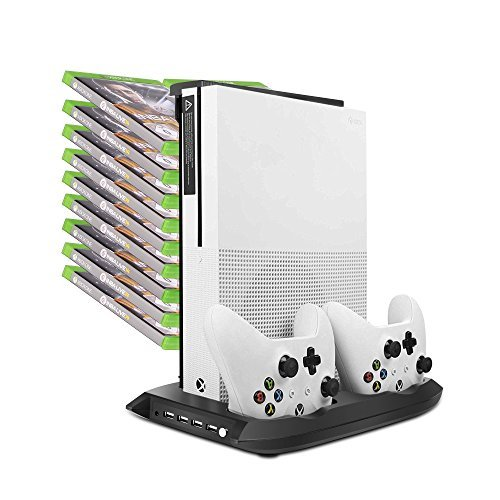 Zadii Vertical Stand Cooling Fan Controller Charging Station with Game Storage for Xbox One S