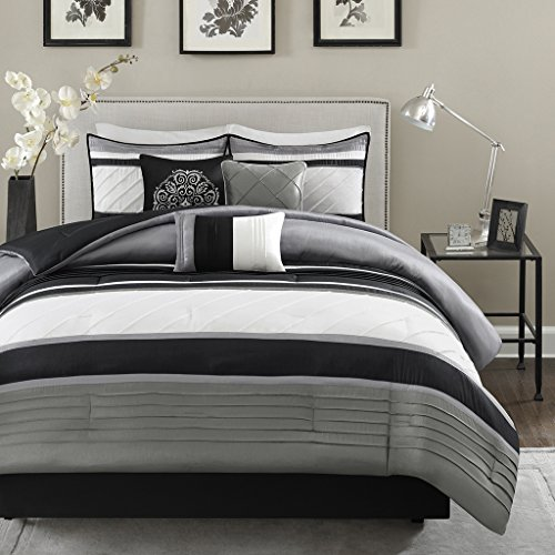 Madison Park Blaire 7 Piece Comforter Set - Grey - Queen